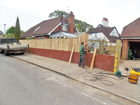 Closeboard fencing in Barton on Sea (during)