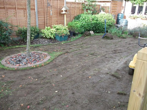 Before turfing - full garden landscape in New Milton