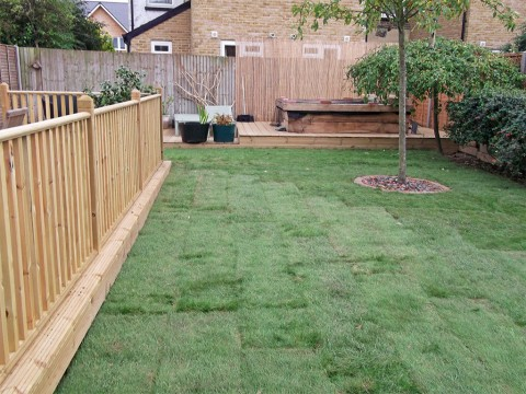 After turfing - full garden landscape in New Milton